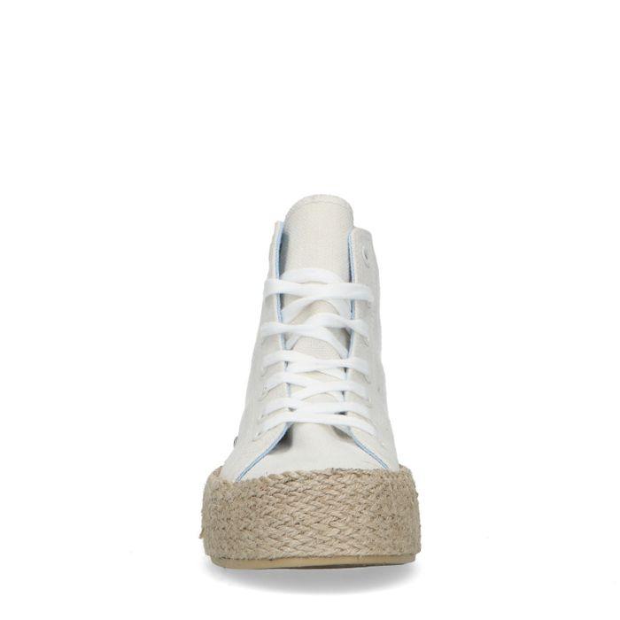 Baskets mi-hautes en textile - blanc cassé