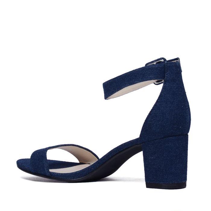 Sandales textile à talon - denim