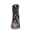 Bottines textile à talon avec imprimé fleuri - bleu foncé