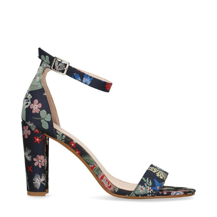 Sandales à talon avec imprimé fleuri