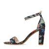 Sandales textile à talon avec imprimé fleuri - bleu