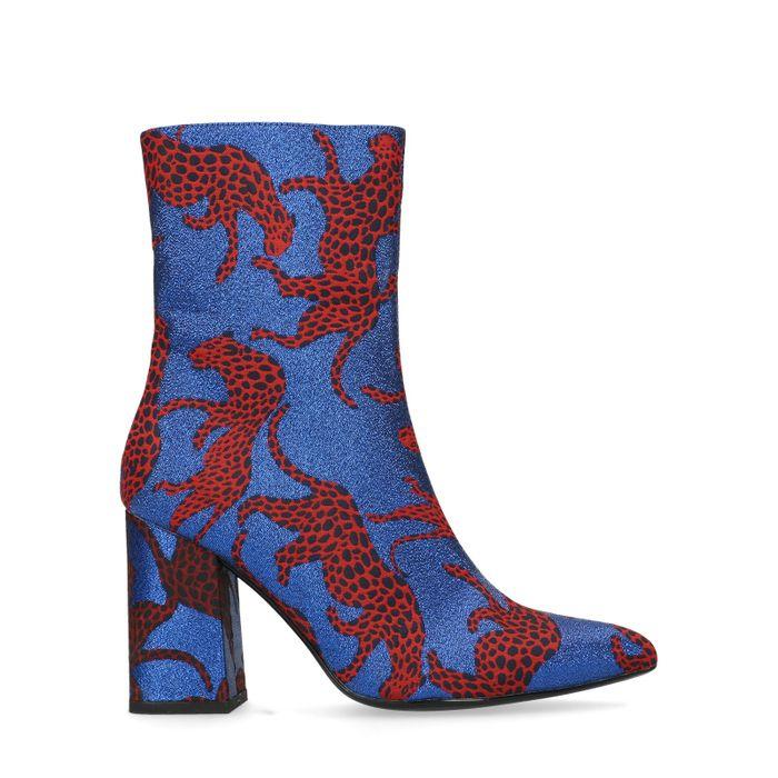 Bottines textile à talon avec panthères - bleu