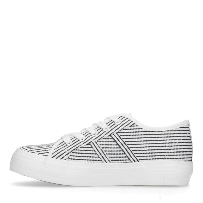 Baskets basses textile avec rayures - blanc