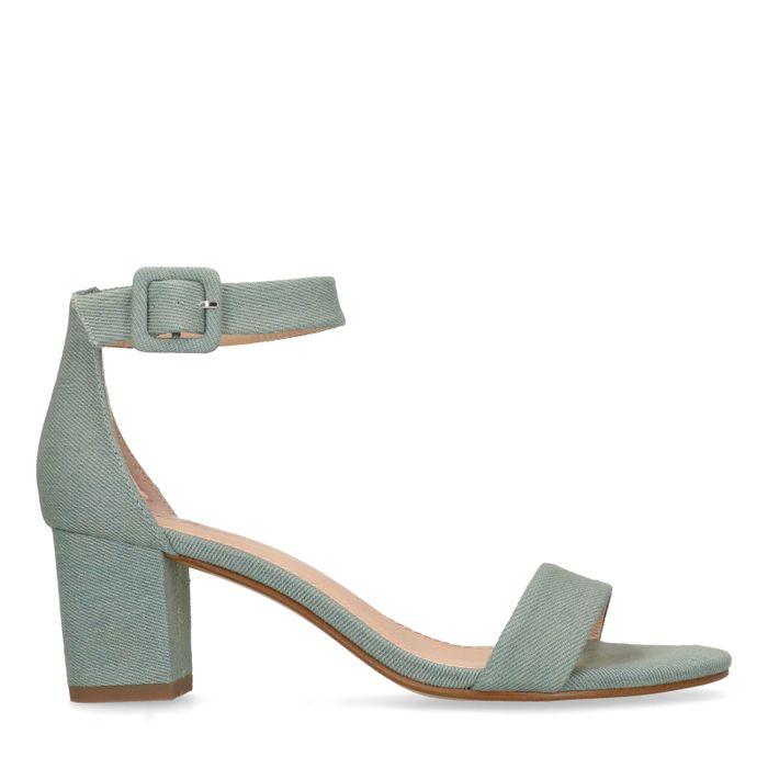 Sandales textile à talon - bleu