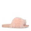 Claquettes textile fluffy - rose