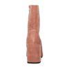 Bottes tissu côtelé courtes à talon - rose
