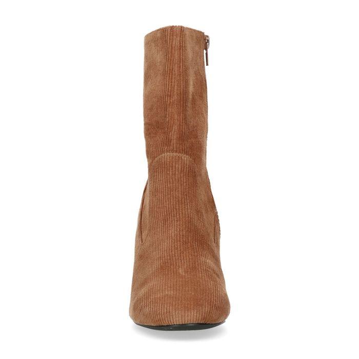 Bottes tissu côtelé courtes avec talon - marron