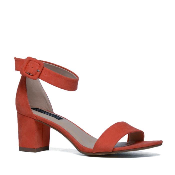 Sandales textile à talon - corail