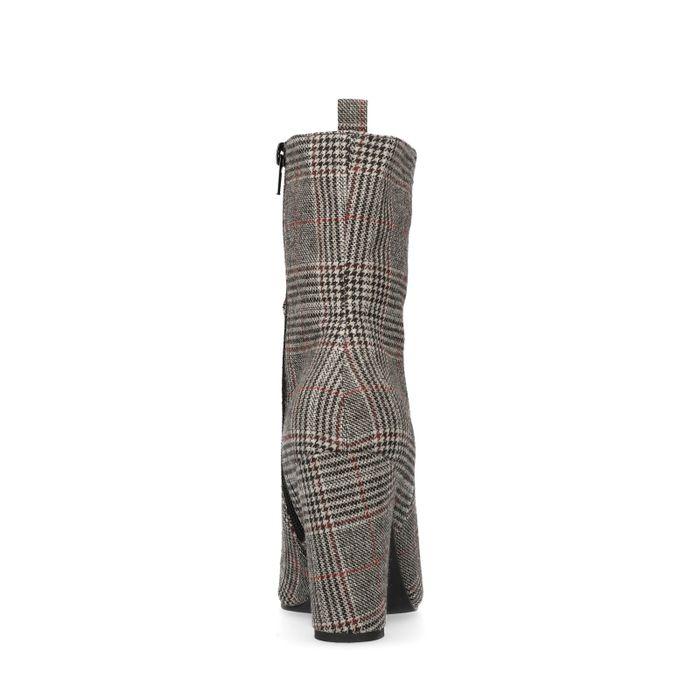 Bottines textile à talon avec imprimé carreaux - gris