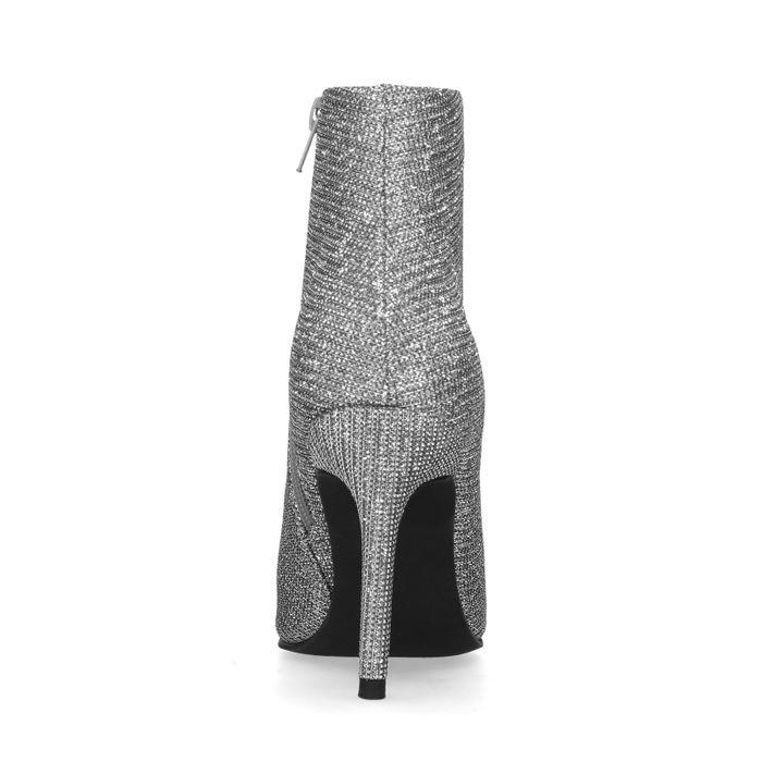 Bottines textile pailletées avec talon aiguille - argenté