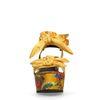 Sandales à talon compensé avec imprimé fleuri - jaune