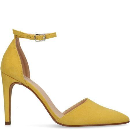 Escarpins textile avec bride cheville - jaune