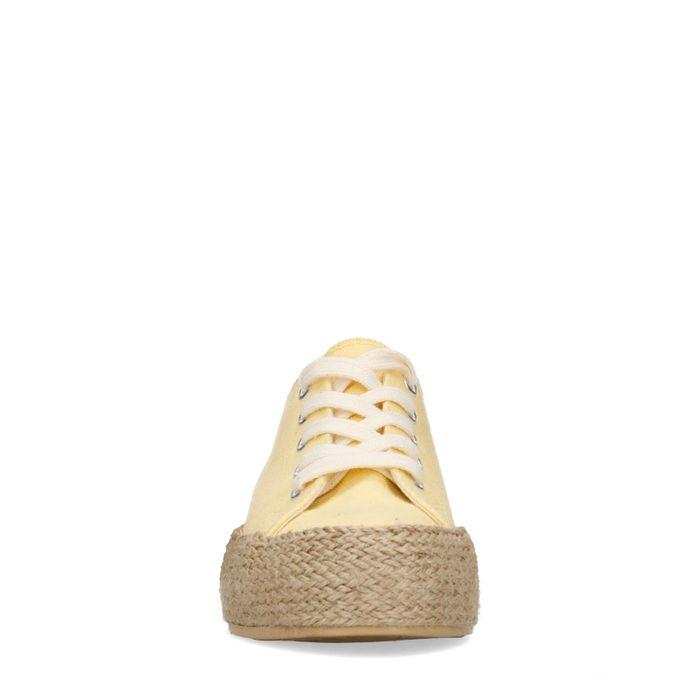 Baskets textile à plateforme avec semelle en corde - jaune