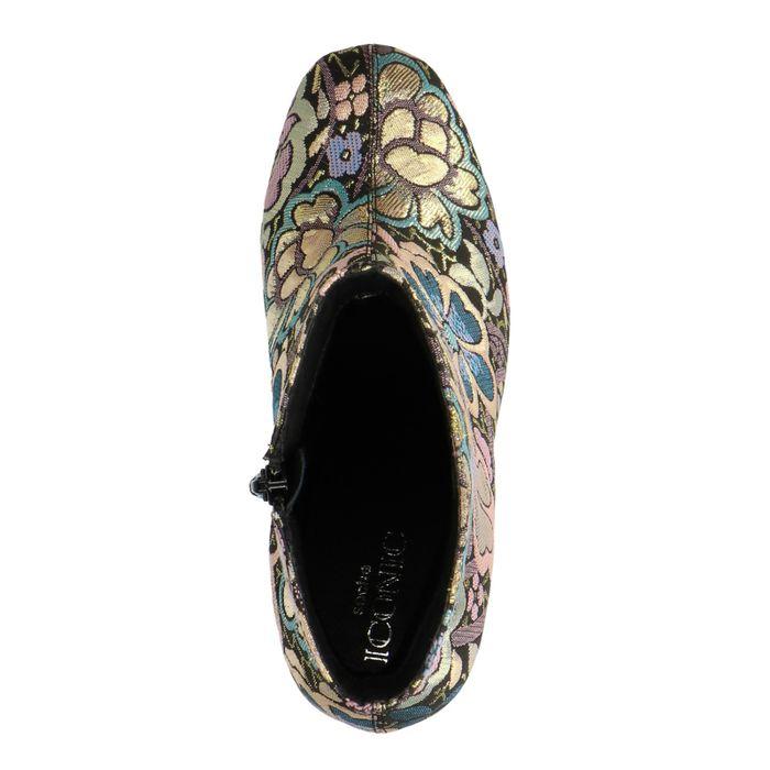 Bottines textile à talon avec imprimé fleuri