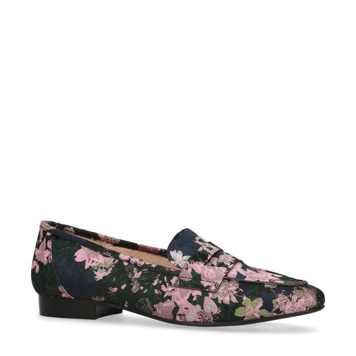 Loafers avec imprimé fleuri rose - noir