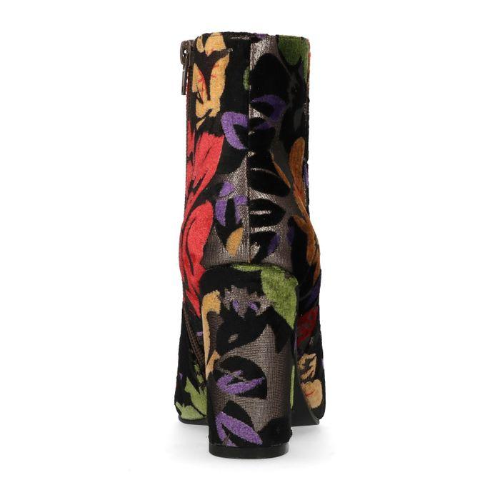 Bottines pailletées à talon avec imprimé fleuri - gris foncé