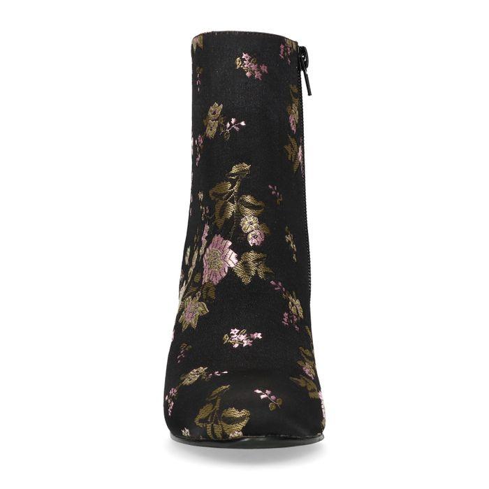 Bottines satin à talon avec imprimé fleuri - noir