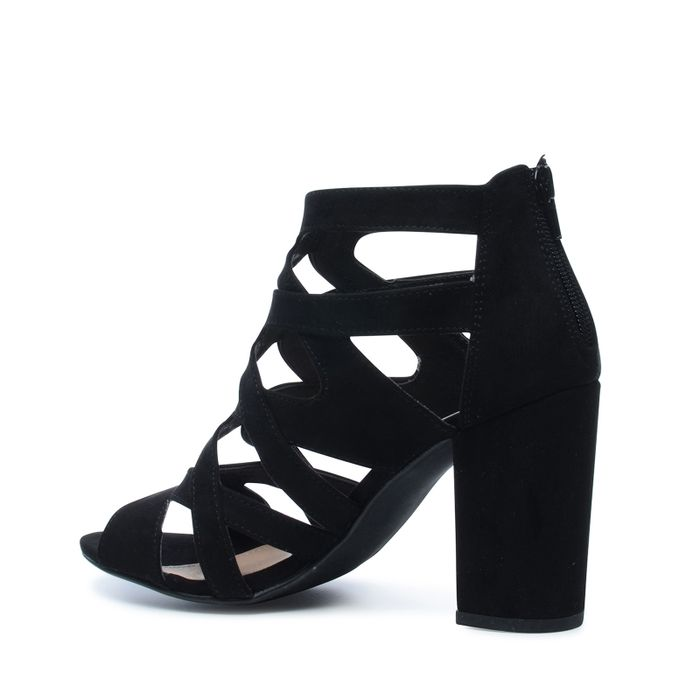 Escarpins ajourés en textile avec bout ouvert - noir