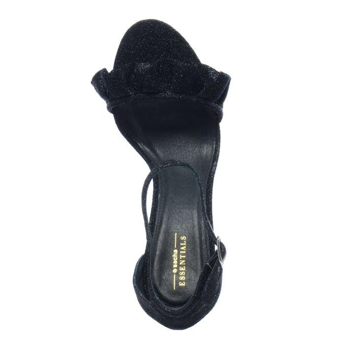 Escarpins textile pailletés avec froufrous - noir