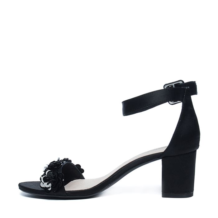 Escarpins avec paillettes fleur - noir
