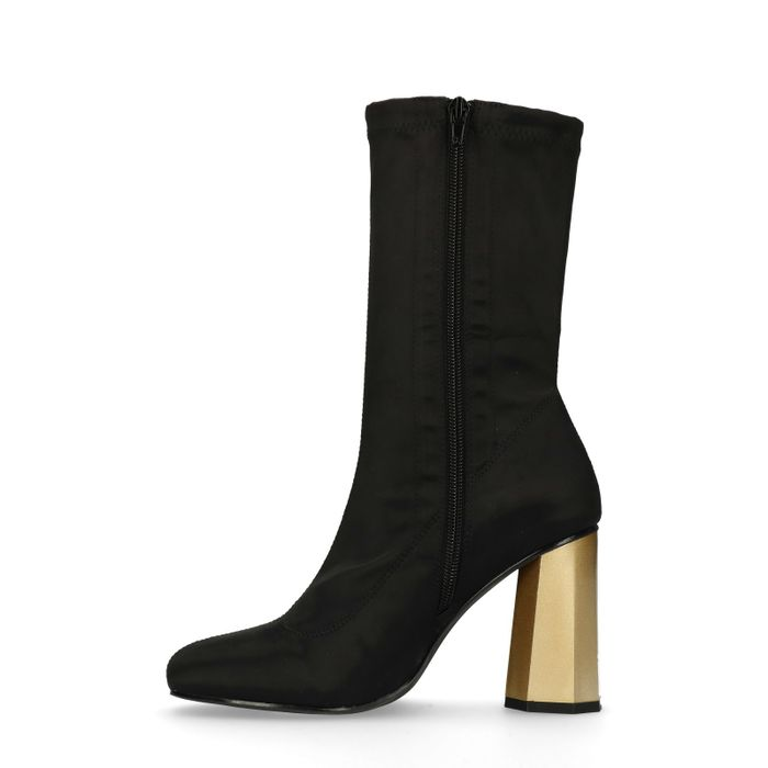Bottines-chaussettes avec talon doré - noir