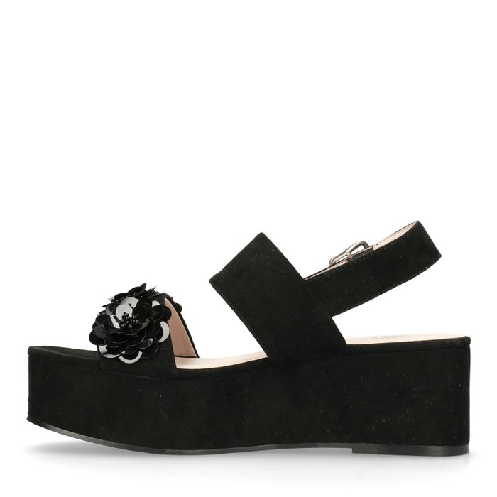 Sandales textile à plateforme avec paillettes - noir