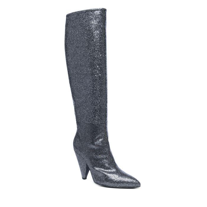 Bottes hautes textile pailletées - noir