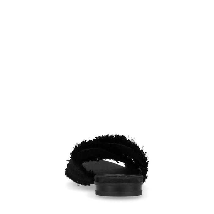 Claquettes avec franges - noir