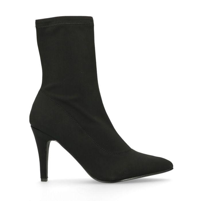 Bottines-chaussettes textile à talon - noir
