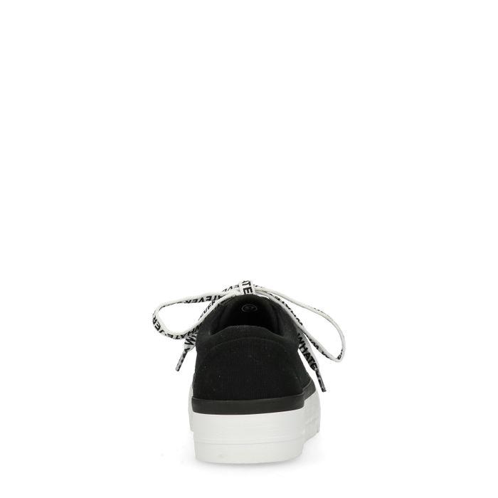 Baskets à plateforme avec texte sur lacets - noir