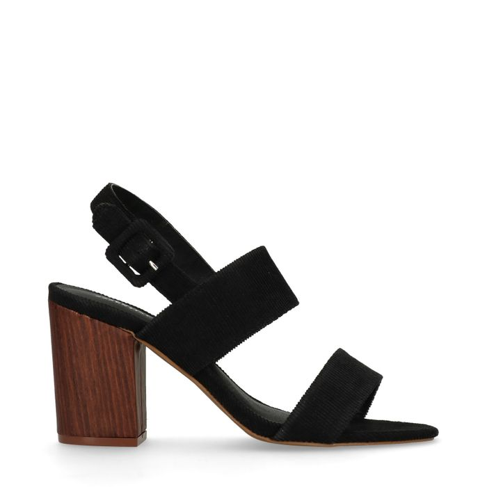 Sandales tissu côtelé à talon - noir