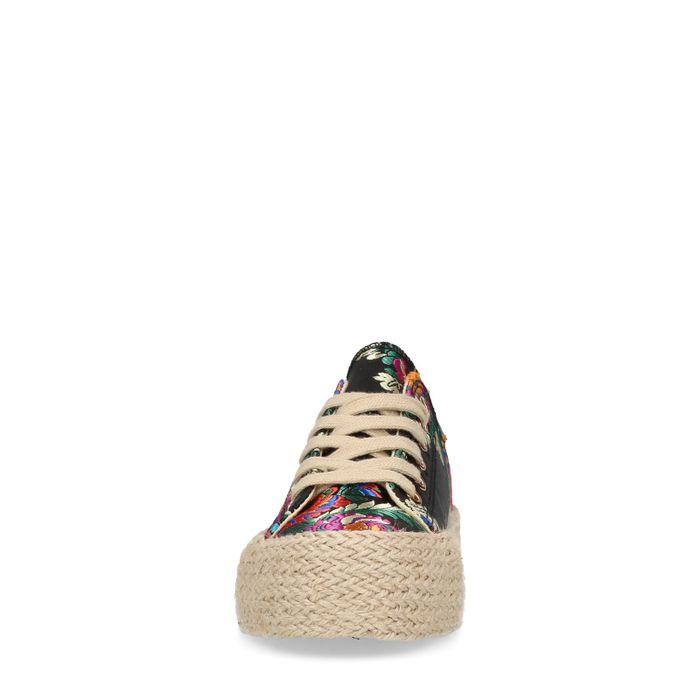 Baskets avec imprimé fleuri - noir