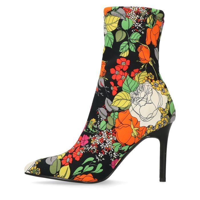 Bottines-chaussettes textile avec imprimé fleuri - noir