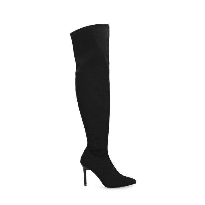 Bottines-chaussettes cuissardes - noir