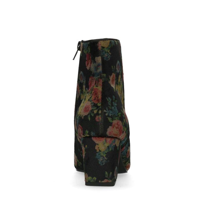 Bottines en velours avec talon et imprimé fleuri - noir