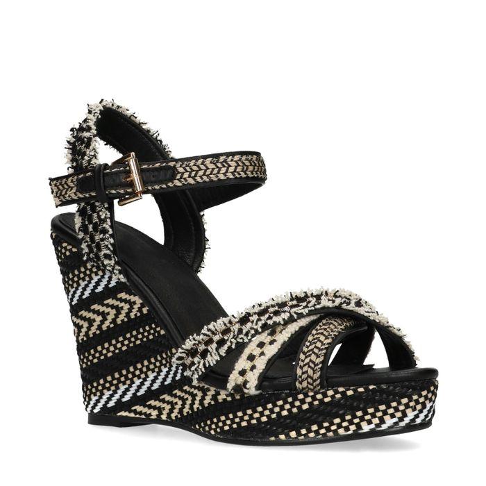 Sandales textile à talon compensé avec imprimé - noir