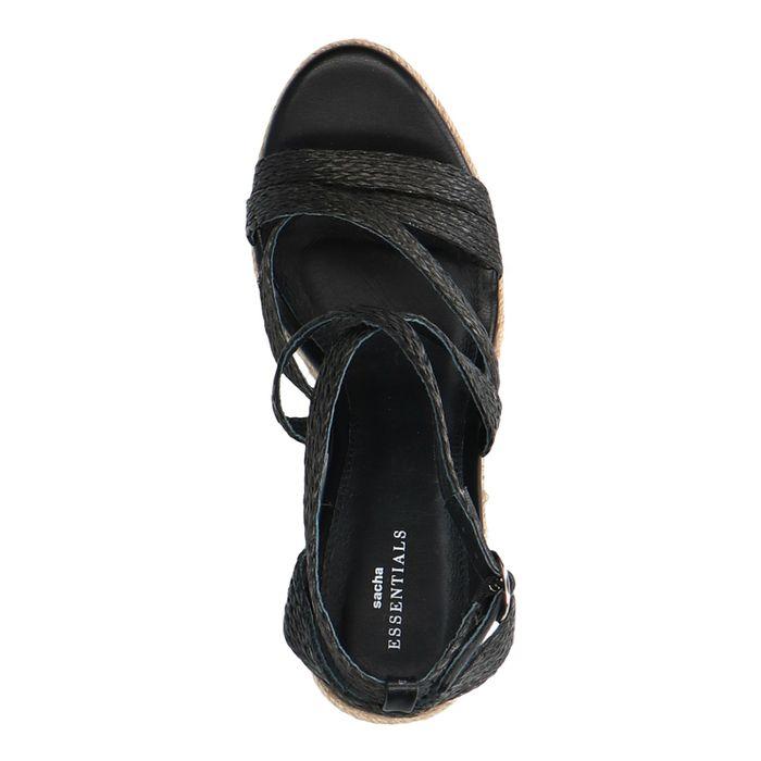 Chaussures tressées textile à talon compensé - noir
