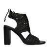 Sandales textile ajourées avec talon - noir
