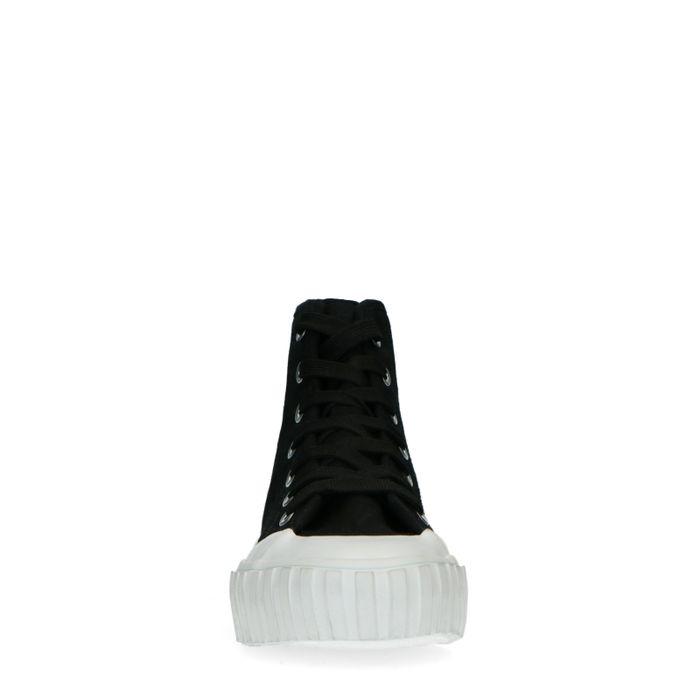 Baskets en toile avec semelle blanche - noir