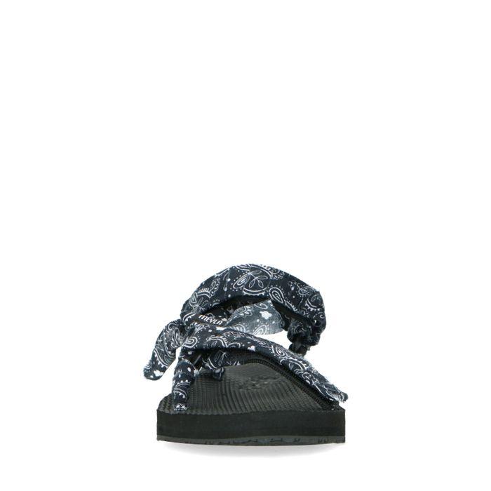 Sandales textile avec brides bandana - noir