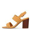 Sandales tissu côtelé à talon - jaune