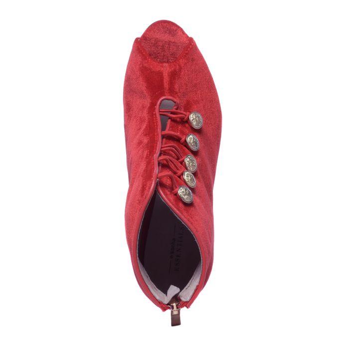Escarpins textile avec bout ouvert - rouge