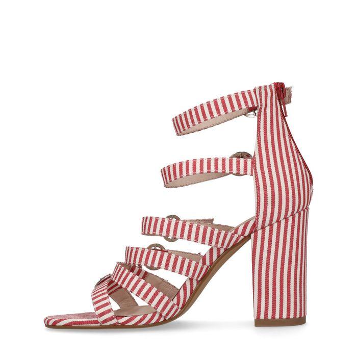 Sandales à talon rayées rouge et blanc