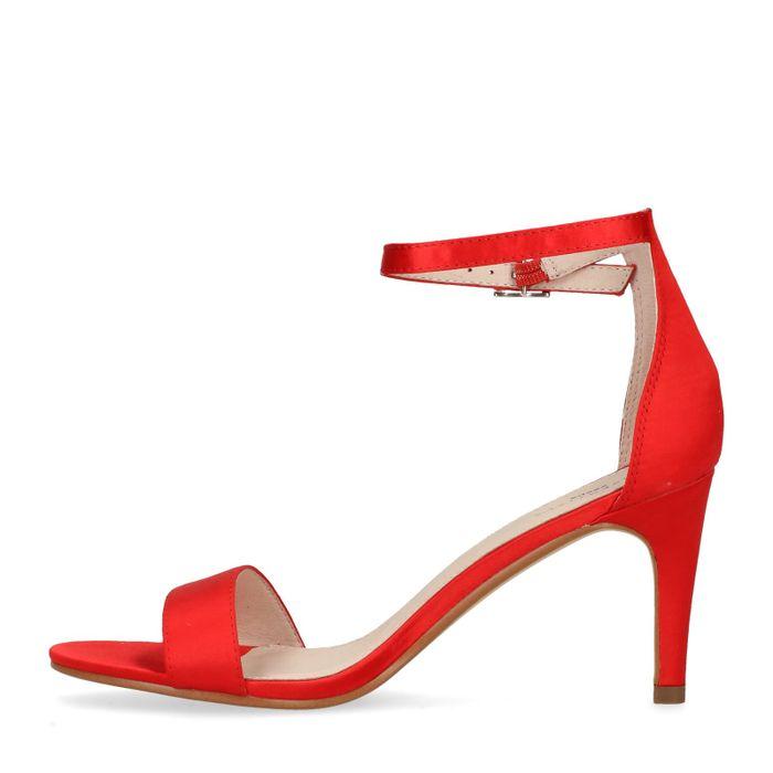 Sandales à talon satin - rouge