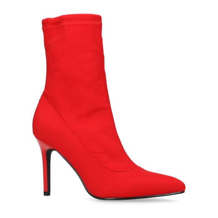Bottines-chaussettes textile - rouge