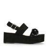 Sandales à plateau avec paillettes - noir