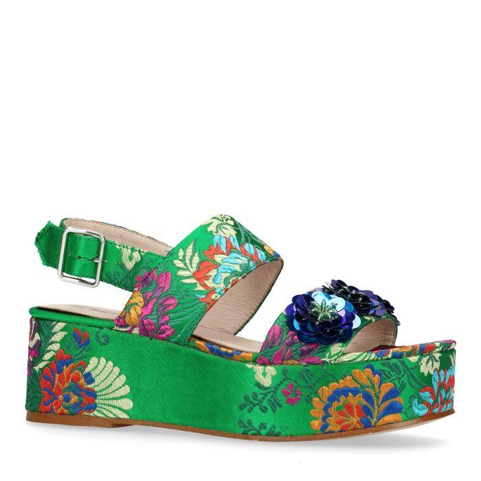 Sandales à plateau avec paillettes et fleurs - vert