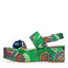 Sandales textile à plateforme avec paillettes et fleurs - vert