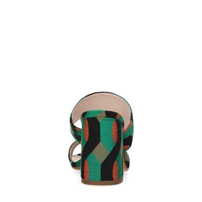 Mules textile avec imprimé - vert