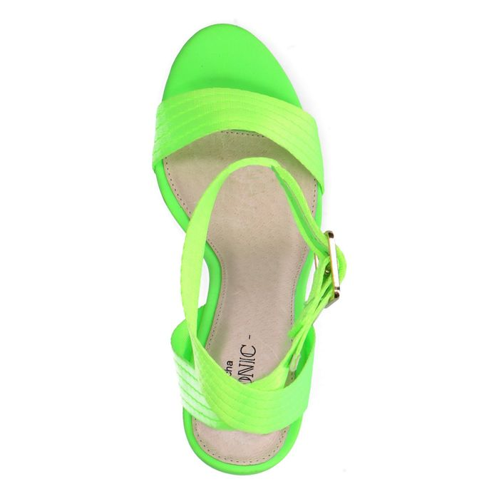 Sandales textile à talon - vert fluo